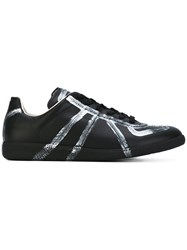 Maison Martin Margiela Metallic Stripe Sneakers Men Leather Rubber 40 Black