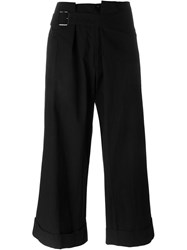 Yohji Yamamoto Turn Up Hem Cropped Trousers Black