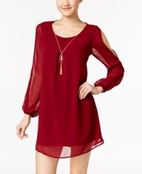 As U Wish Juniors' Split Sleeve Shift Dress With Necklace Wine
