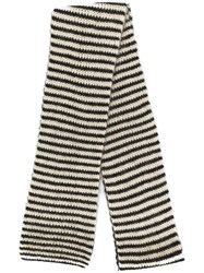 Saint Laurent Striped Knitted Scarf Black