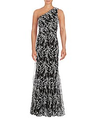 David Meister One Shoulder Floral Gown Black Ivory