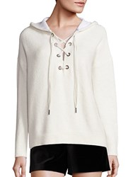 Alice Olivia Louanne Long Sleeve Lace Up Hoodie Charcoal