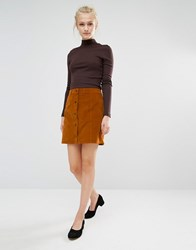 Vila A Line Button Front Skirt Brown
