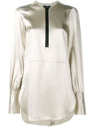 Ellery Engels Silk Long Sleeve Tunic Nude And Neutrals