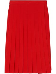 Burberry Stretch Cady Pleated Skirt Red