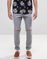 Asos Skinny Cotton Trousers In Grey With Knee Rip Warm Grey