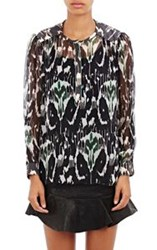 Isabel Marant Silk Chiffon Pilay Peasant Top Black