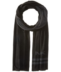 Michael Michael Kors Reversible Big Mk Bottom Stripe Muffler Black Charcoal Scarves