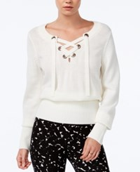 Bar Iii Ribbed Lace Up Sweater Only At Macy's Egret