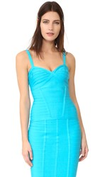 Herve Leger Suma Sleeveless V Neck Top Caribbean Blue