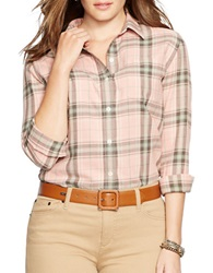 Lauren Ralph Lauren Plus Plaid Cotton Button Front Shirt Pink Multi