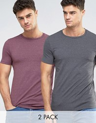 Asos 2 Pack Muscle Fit T Shirt In Washed Black Marl Red Marl With Crew Neck Save Multi
