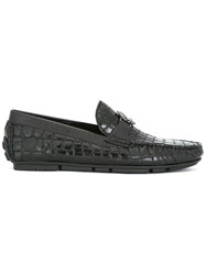 Roberto Cavalli Crocodile Skin Effect Boat Shoes Black
