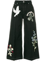 Alexander Mcqueen Embroidered Patch Wide Leg Jeans Cotton Brass Glass Black