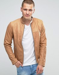 Replay Leather Biker Jacket In Tan Tan