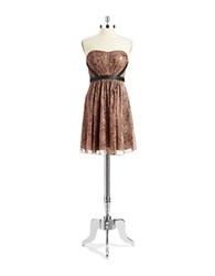 Hailey Logan Metallic Strapless Dress Toffee