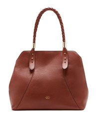 Vince Camuto Braided Handle Tote Bag Cognac