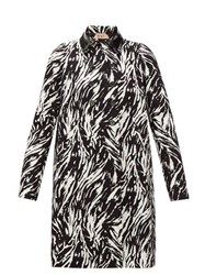N 21 No. Zebra Print Double Breasted Cotton And Pvc Coat Black White