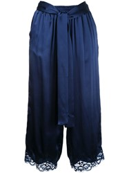 Gold Hawk Lace Trim Cropped Trousers Women Silk Nylon S Blue