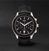 Piaget Polo S Automatic Chronograph 42Mm Adlc Coated Stainless Steel And Leather Watch Black