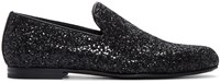 Jimmy Choo Black Glitter Sloane Loafers
