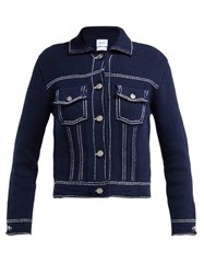Barrie Western Style Cashmere Blend Knitted Jacket Navy White