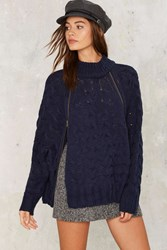Aux Cable Knit Sweater Blue