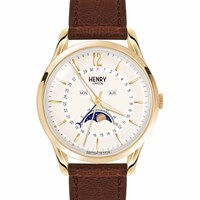Henry London Unisex Westminster Moonphase Leather Strap Watch Gold Brown Nude