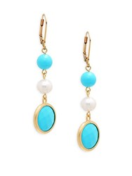 Rivka Friedman 18Mm Freshwater Pearl And Turquoise Drop Earrings No Color