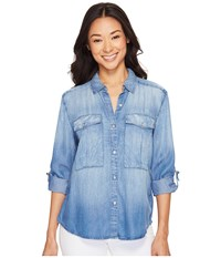 Calvin Klein Jeans Utility Lyocell Shirt Crumpled Cole Women's Clothing Blue