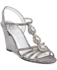 Adrianna Papell Kristen Evening Wedge Sandals Women's Shoes Pewter