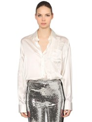 Ermanno Scervino Patchwork Silk Satin And Lace Shirt White