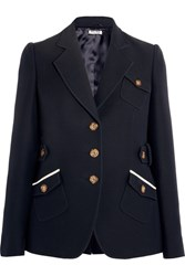 Miu Miu Wool And Silk Blend Blazer Navy