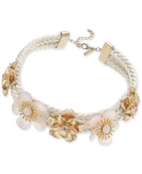 Inc International Concepts Gold Tone Crystal And Pink Stone Flower Braided Necklace 15 3 Extender Created For Macy's