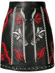 Drome Patterned Fitted Skirt Black