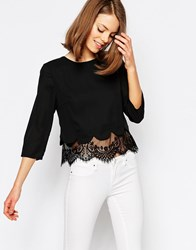 Jovonna Esmeralda Top With Scallop And Lace Hem Black