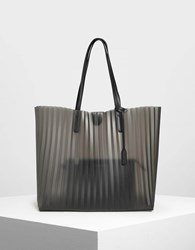 Charles And Keith Translucent Landscape Tote Bag Black