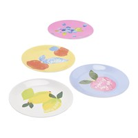 Joules Hollyhock Meadow Garden Plates Set Of 4 Yellow Floral