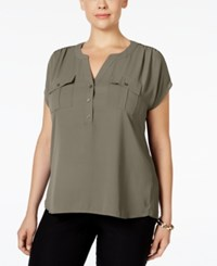 Inc International Concepts Plus Size Mixed Media Utility Shirt Only At Macy's Olive Drab