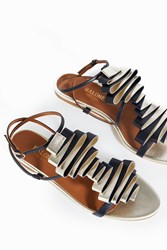 Malone Souliers Women S Audrey Pleated Leather Sandals Boutique1 Navy Platino Gold