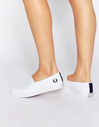 Fred Perry Aubyn White Slip On Canvas Plimsolls White French Navy