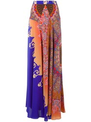 Etro Panelled Long Skirt Pink Purple
