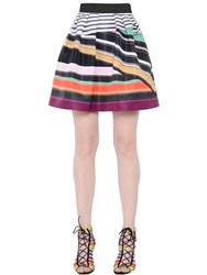 Mary Katrantzou Stripe Printed Techno Twill Skirt