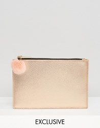 Skinnydip Exclusive Zip Top Pouch Bag In Rose Gold With Faux Fur Pom Rose Gold