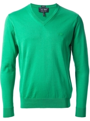 Armani Jeans V Neck Sweater Green