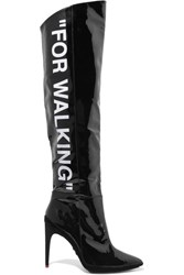 Off White For Walking Printed Patent Leather Knee Boots Black