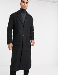Another Influence Longline Overcoat In Black
