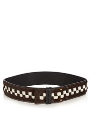 Palmer Harding Checkerboard Calf Hair Belt Dark Brown