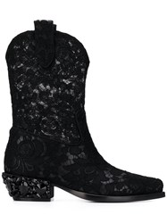 Dolce And Gabbana Lace Texan Boots Black