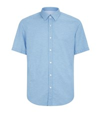 Boss Cotton Linen Short Sleeve Shirt Blue